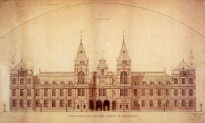 Presentatietekening van Pierre Cuypers voor het Rijksmuseum