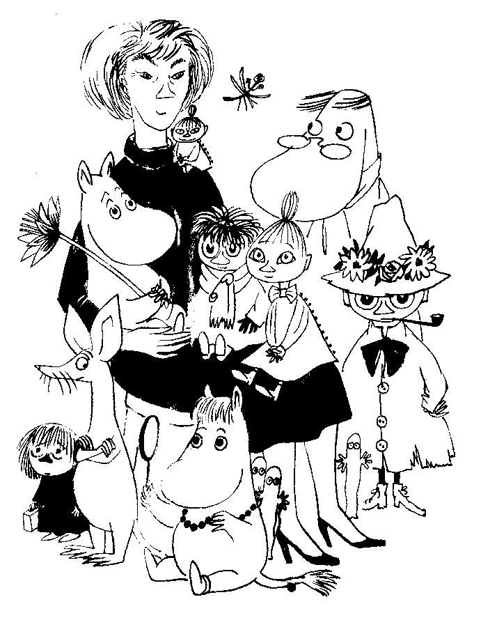 Zelfportret van Tove Jansson met haar Moemins