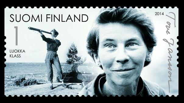 Postzegel die in Finland werd uitgebracht n.a.v. de honderdste geboortedag van Tove Jansson