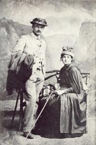 Frederik van Eeden en Martha tijdens een voetreis met Gerlof van Vloten door de Harz